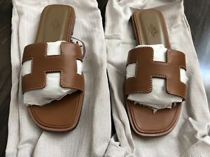 Authentic Hermes Oran Sandal Flats in Camel Gold