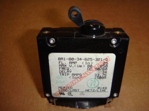 Carling 25 Amp Boat Circuit Breaker Switch Black Toggle, BA1-B0-34-625-321-D