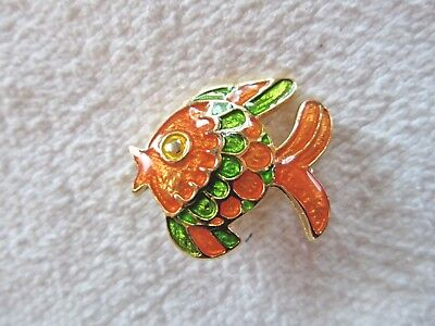 Vintage Ivana Trump Enameled Tropical Fish Brooch  Pin  1  X 15 16
