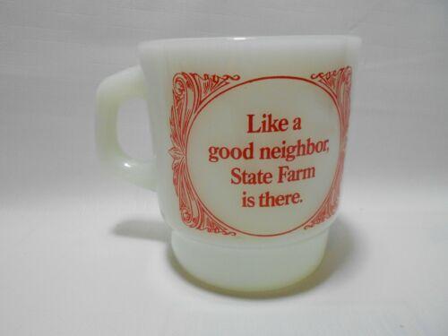 Vintage State Farm Insurance Like a Good Jingle Milk Glass Coffee Mug Cup Logo