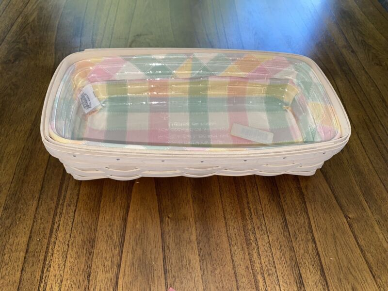 2001 Longaberger Bread Bakery Basket With Fabric Liner And Protecter