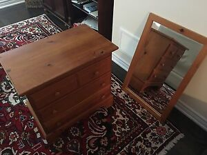 Small Dresser and Mirror Matching Set