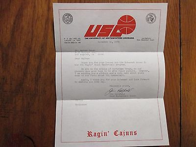 JIM HATFIELD Signed 8 1/2 X 11 1974 Letter(Southwestern Louisiana Men Basketball