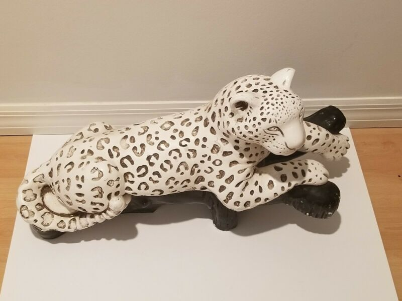 Vintage Large White Ceramic Lounging Wild Leopard Statue Sculpture Mexico Rare!