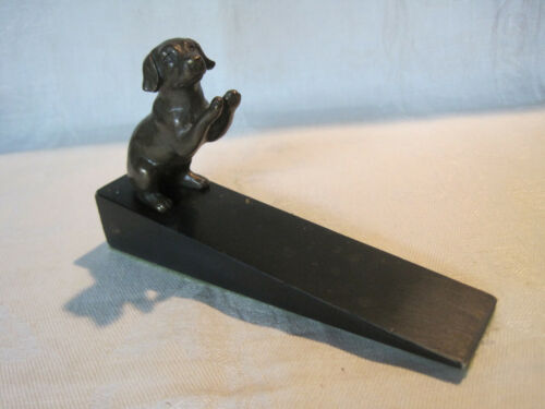 Vintage bronze retriever dog door stop wedge