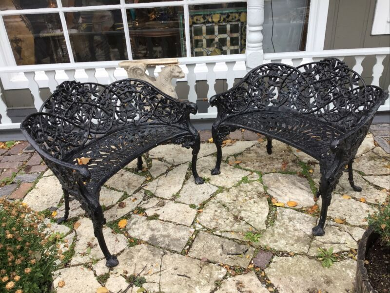 Pair (2) Coalbrookdale Antique Cast Iron