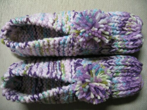 "Handmade Orchid & Pastel Hs Slippers Mens Sm/Med Wms Med/Lg Great Gift 9 1/4"""