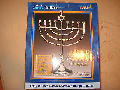 Silvertone Finish - Traditional Menorah - Non Tarnish - Brand New](Make Menorah)