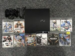 PS3 Slim - 120GB - 10 Games, Cords and Controller