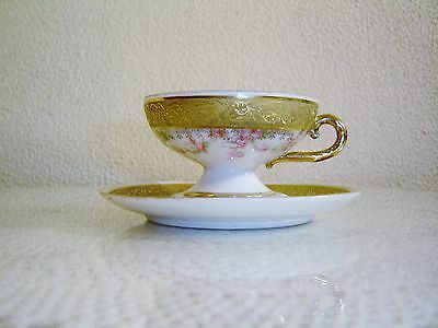 Antique Royal Bayreuth  Pink Roses With Gold  Demitasse Cup and Saucer