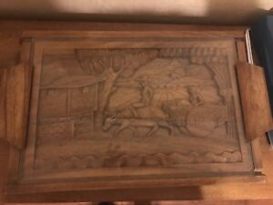 Beautiful 13x19 wooden, hand carved serving tray