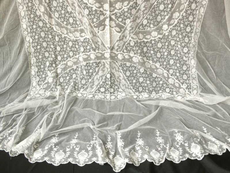 Antique c1920 Normandy Lace Coverlet Bedspread France Twin Size