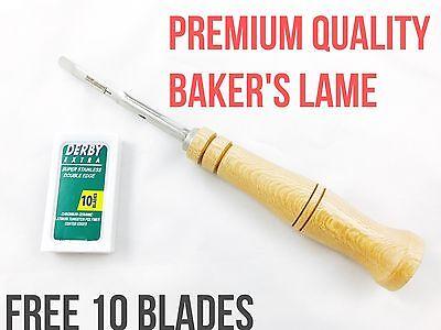 Baker's Lame Grignette For Slashing Scoring Bread Dough Plus Bonus 10 Blades