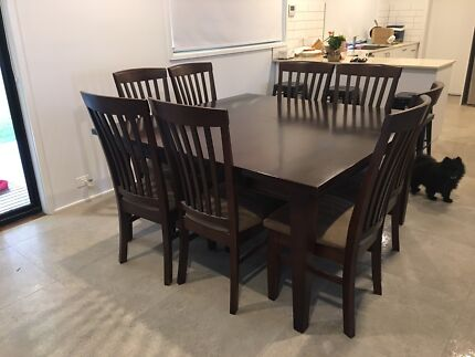 Square solid dining table and chairs