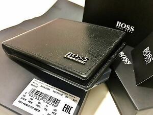 HUGO BOSS WALLET MONIST '50261706' BI FOLD BLACK CALFSKIN LEATHER NOTE WALLET