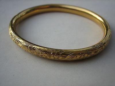 ANTIQUE VICTORIAN GOLD FILLED  ETCHED SWIRL FLOWER BANGLE BRACELET