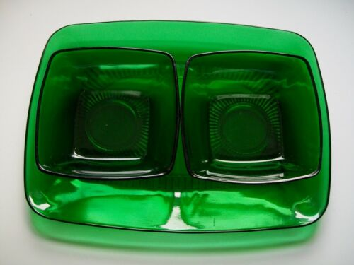 Forest Green Glass Charm Platter & 2 Berry Bowls