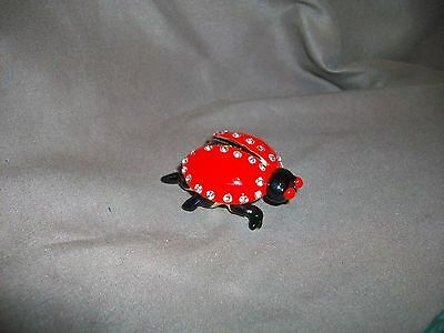 JEWELED ENAMEL OVER METAL LADYBUG PILL TRINKET JEWELRY BOX