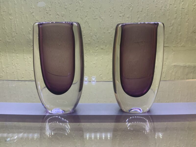 2x Vicke Lindstrand Vases For Kosta Boda