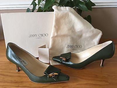 Ladies Jimmy Choo London green all leather court shoes UK 3.5 EU 36.5 RRP £325