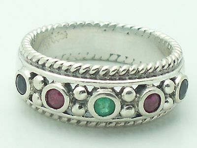 Estate Sterling Silver CNA Signed Emerald Sapphire & Ruby Ring Size 6