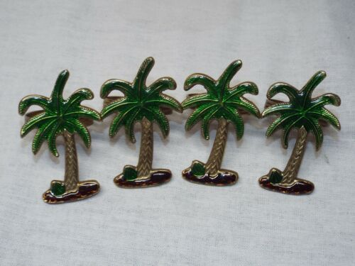 Set of 4 Brass Enamel Painted Tropical Palm Tree Napkin Rings GORGEOUS