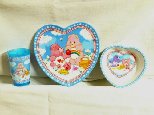 NEW CARE BEARS 3 PIECE MELAMINE KIDS DINNERWARE SET -   PARTY SUPPLIES SOLD BULK