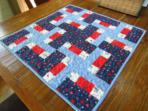 """Handmade Patriotic Independence Day Table Topper 25"""" Square"""