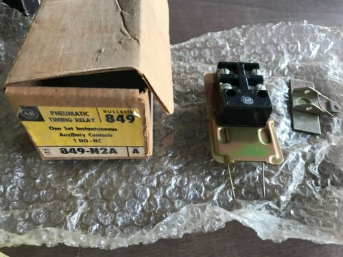 1x Allen-Bradley 849-N2A Pneumatic Timing Relay Set Auxiliary Contacts, NOS