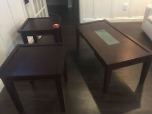 Espresso end tables and coffee table