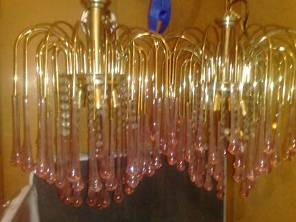 2x 1970's retro vintage chandelier light blown glass brass Ivanhoe Banyule Area Preview