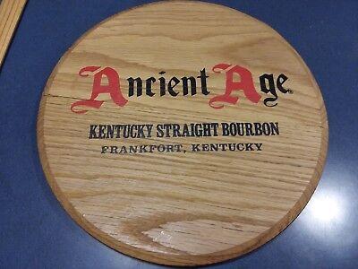 Vintage Ancient Age Bourbon Whiskey Wood Barrel Top Bar Sign