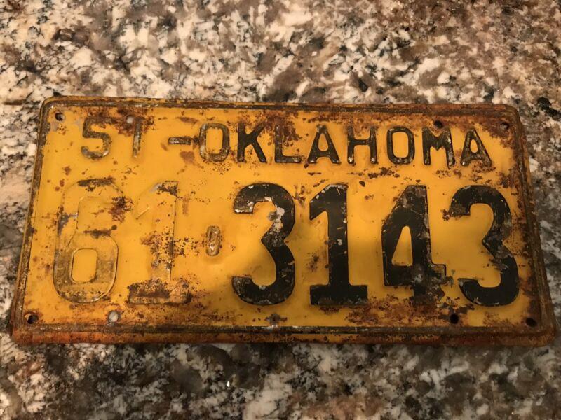 1951 Oklahoma License Plate 61 3143