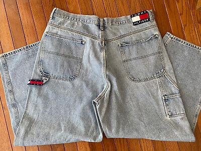 Vintage Tommy Hilfiger Big Flag Logo Carpenter Blue Denim Jeans, Size 40x32