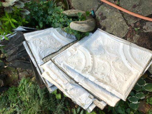 """Vintage Shabby Chic 33 tiles 24"""" approx.Tin Ceiling Tile Panels  White Metal"""