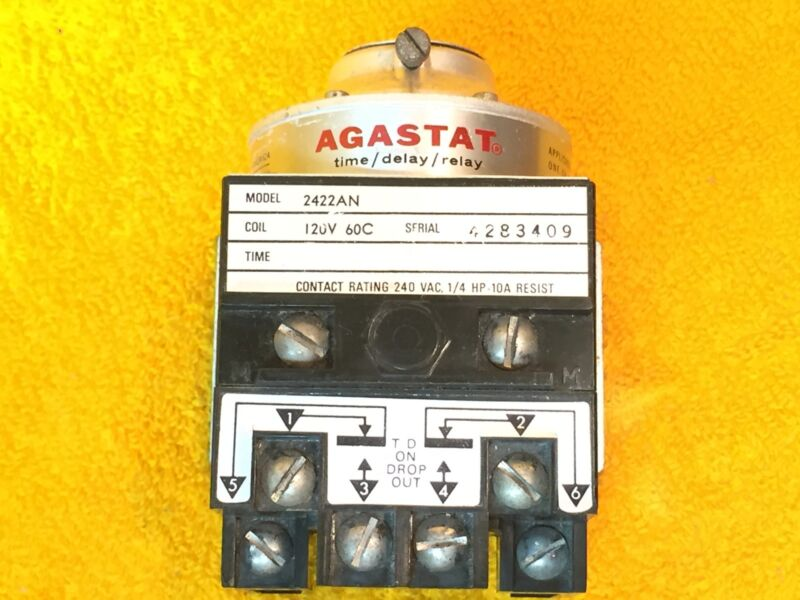***PERFECT*** AGASTAT 2422AN TIME DELAY RELAY 120 VOLT COIL