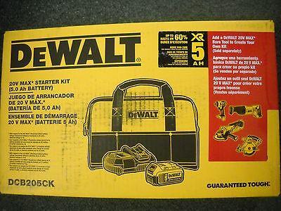 Dewalt Dcb205ck 20 Volt Max 5 0Ah Lithium Ion Battery   Charger Kit   Bag New