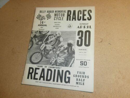 Vntg Reading PA Billy Huber Motorcycle Flat Track Race Program 1967 Gary Nixon