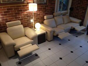 leather lounge - white modular 4 recliners 5 seats Hornsby Hornsby Area Preview