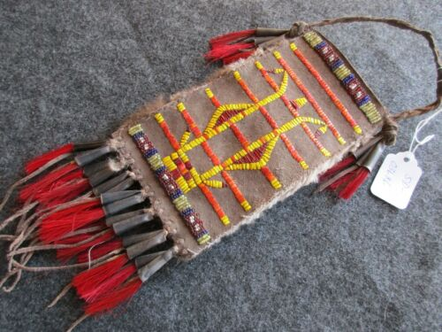 RARE NATIVE AMERICAN QUILLED LEATHER, MEDICINE BAG, TOBACCO POUCH,  SD-03686