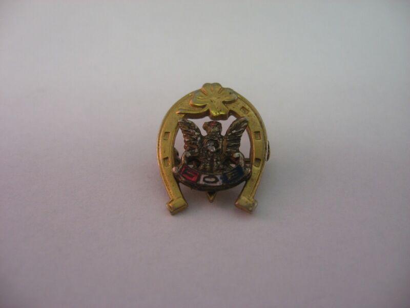 Rare Design FOE Fraternal Order of Eagles Shamrock Horseshoe Pin