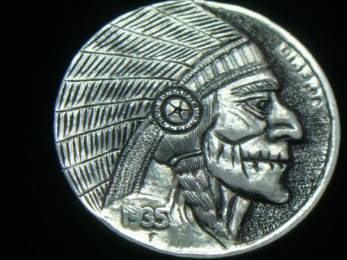 1935- P hobo nickel - THE  OLD INDIAN CHIEF