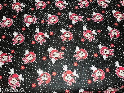 MINNIE MOUSE FABRIC MINNIE WITH FLOWERS & POLKA DOTS  DISNEY  CP52516 1 + -