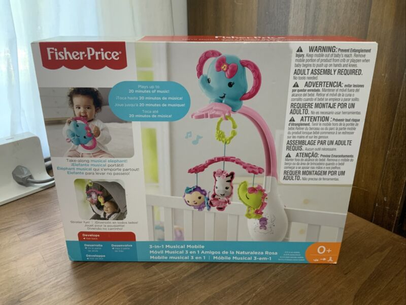 Fisher Price 3 In 1 Musical Mobile Music Crib Elephant Infant Baby Toy Brand New