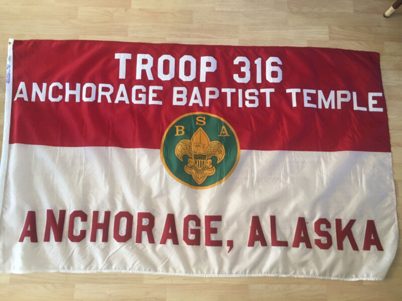 Vintage Boy Scouts Of America Troop 316 Flag 3x5' Anch AK /Flag Pole Topper