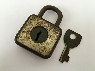 Old Vintage Solid Iron Padlock Lock With key Rear Shape India Collectible