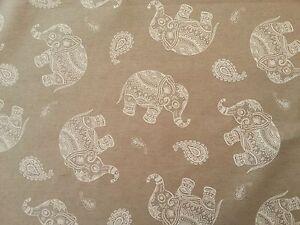 CGF JAIPUR TEFLON BEIGE INDIAN ELEPHANT TABLECLOTH APRON OILCLOTH FABRIC