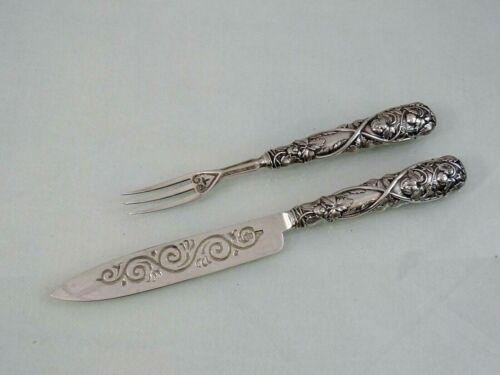 ENGLISH STERLING SILVER DESSERT SET FRUIT STRAWBERRY KNIFE FORK Birmingham 1858