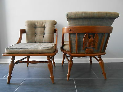 Vintage Pair MCM Early American Colonial Carved Eagle Back Slipper Chairs REDO