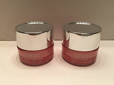 Lot of  2 : Clinique All About Eyes RICH Reduces Puffs Circle 5ml x 2= 10 ml